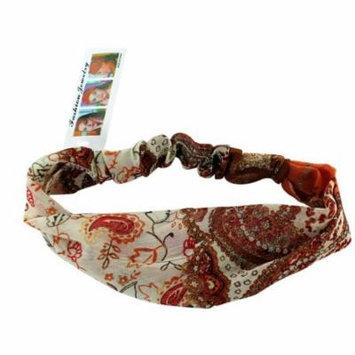 Dark Peach Psychedelic Flowers Headband Vintage Retro Headband