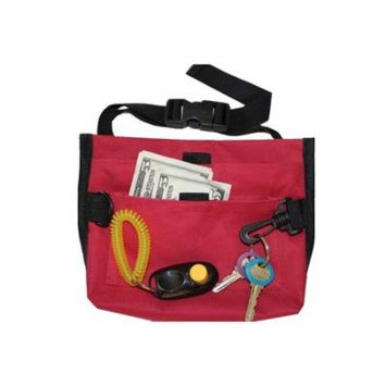 Premium Deluxe Dog Pet Training Treat Bait Bag Pouch, with FREE Clicker by Downtown Pet Supply (RED)