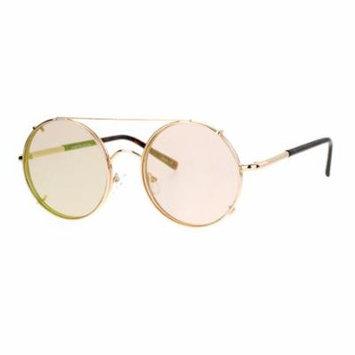 SA106 Metal Round Circle Lens Detachable Clip On Sunglasses Gold Peach