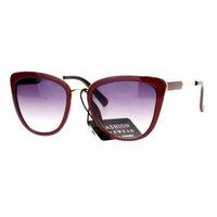 SA106 Diva Oversize Cat Eye Metal Brow Trim Sunglasses Burgundy