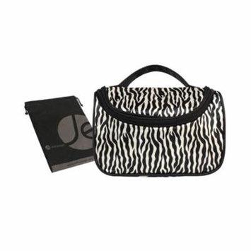 JAVOedge Black & White Zebra Stripe Zipper Toiletry Cosmetic Makeup Bag with Makeup Brush Pockets & Mirror