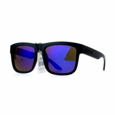 Kush Mens Mirror Lens Gangster Oversize Horn Rim Cholo Sunglasses Blue
