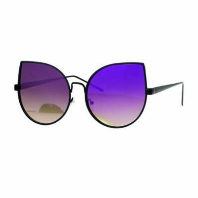 SA106 Retro Flat Lens Bat Shape Metal Rim Cat Eye Circle Sunglasses Black Purple