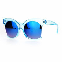SA106 Avant Garde Unique Exposed Side Crop Lens Round Butterfly Sunglasses Blue