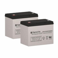 EV Rider Breeze IV 12K Replacement Lawn Mower Batteries (Set of 2 - 12V 75AH SLA Batteries)