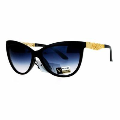 SA106 Metal Diecut Floral Jewel Arm Cat Eye Sunglasses Black Smoke
