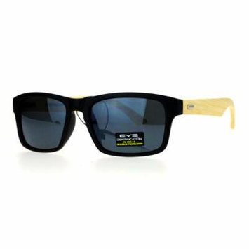SA106 Mirrored Lens Bamboo Arm Narrow Rectangular Horned Sunglasses All Black
