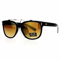 SA106 Retro Metal Flat Top Bridge Horn Rim Horned Sunglasses Black Brown