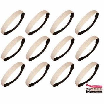 Kenz Laurenz Glitter Headbands 12 Girls Headband Sparkly Hair Head Bands White