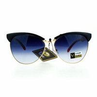 SA106 Womens Luxury Fashion Butterfly Half Rim Floral Print Sunglasses Black Red