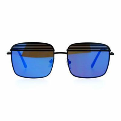 SA106 Shutter Half Eye Lid Flat Len Rectangular Mirrored Mirror Sunglasses Black Blue