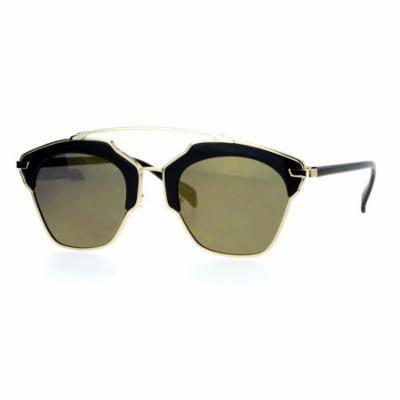 SA106 Metal Outline Mirrored Mirror Lens Retro Vintage Half Rim Sunglasses All Gold