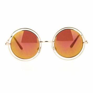 SA106 Unisex Double Frame Hippie Round Circle Lens Pimp Sunglasses Gold Burgundy