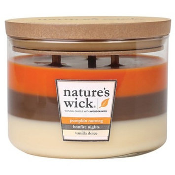 Jar Layered Candle Pumpkin Nutmeg/Bonfire/Vanilla 18oz - Nature's Wick®