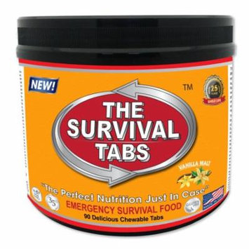 Survival Tabs 7 Day 90 Tabs Emergency Food Survival MREs Meal Replacement for Disaster Preparedness Gluten Free and Non-GMO 25 Years Shelf Life Long Term - Vanilla Flavor
