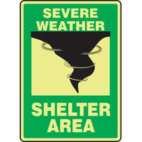 ACCUFORM Emergency Sign,10x7In,Blk and Grn Glow MLFE543GP
