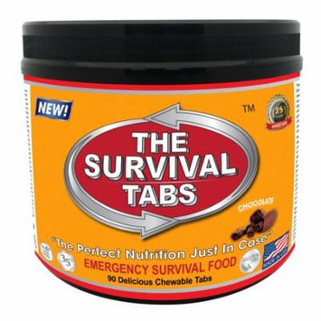 Survival Tabs 7 Day 90 Tabs Emergency Food Survival MREs Meal Replacement for Disaster Preparedness Gluten Free and Non-GMO 25 Years Shelf Life Long Term - Chocolate Flavor