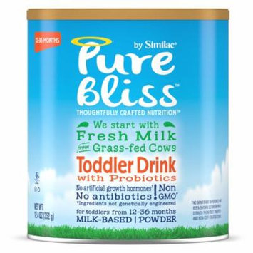 Pure Bliss by Similac Toddler Drink w/ Probiotics (Pack of 4) Milk from Grass-Fed Cows, 12.4 oz