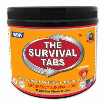 Survival Tabs 7 Day 90 Tabs Emergency Food Survival MREs Meal Replacement for Disaster Preparedness Gluten Free and Non-GMO 25 Years Shelf Life Long Term - Strawberry Flavor