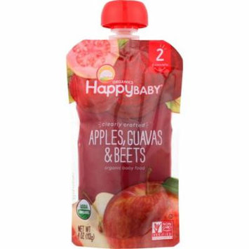Happy Baby Baby Food, Organic, Apples, Guavas & Beets, 2 (6+ Months), 4 Oz (Pack Of 16)