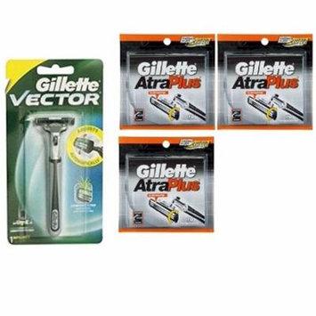 Vector Plus Razor Handle + Atra Plus Refill Razor Blades 10 ct. (Pack of 3)