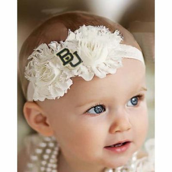 Baylor Bears Baby/ Toddler Shabby Flower Hair Bow Headband