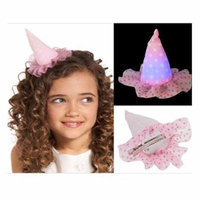 Pink and White Polka Dotted Light Up Birday Hat Barrette - By Ganz