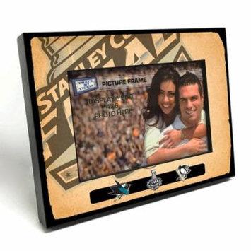 2016 NHL Stanley Cup Final Vintage Style Black Wood Edge 4x6-inch Picture Frame - Sharks vs Penguins