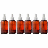 Amber 8 oz Boston Round PET (BPA Free) with White Fine Mist Sprayer (6 pack) + Labels