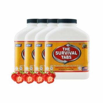Survival Tabs 60 Day 720 Tabs Emergency Food Survival MREs Meal Replacement for Disaster Preparedness Gluten Free and Non-GMO 25 Years Shelf Life Long Term - Strawberry Flavor