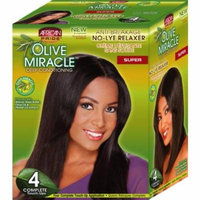African Pride Olive Miracle Deep Conditioning No-Lye Relaxer - Super Kit 4-Count (Pack of 2)