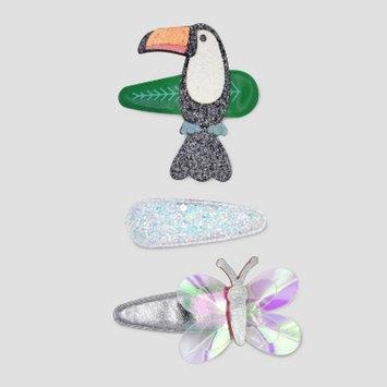 Toddler Girls' 3pk Toucan & Butterfly Hair Clips - Cat & Jack™ Black/Silver