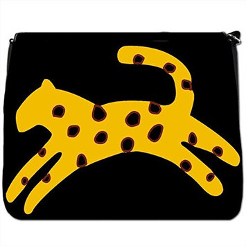 Spotted Yellow Cheetah Running As Fast As Wind Black Large Messenger School Bag [Spotted Yellow Cheetah Running As Fast As Wind]