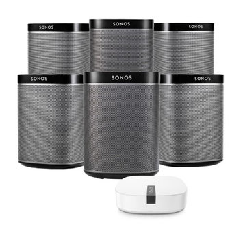 Sonos PLAY1 Black Wireless Music Player (6-Pack) & Boost Wireless Extender Kit