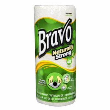 BRAVO Naturally Strong Premium Recycled Paper Towels 70ct (30 Rolls of 70 Sheets)