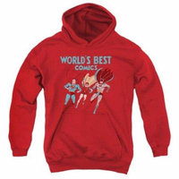 Trevco Jla-Worlds Best Youth Pull-Over Hoodie, Red - Medium