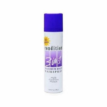 5 Pack - Condition 3-In-1 Maximum Hold Aerosol Hairspray 7oz Each