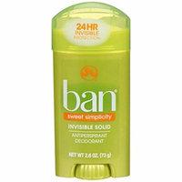 5 Pk Ban Invisible Solid Antiperspirant Deodorant Sweet Simplicity Scent 2.6oz