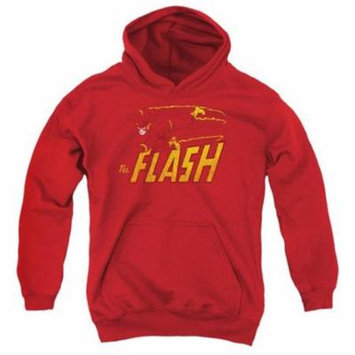 Trevco Dc-Flash Speed Distressed - Youth Pull-Over Hoodie - Red, Medium