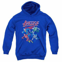 Trevco Jla-Pixel League Youth Pull-Over Hoodie, Royal Blue - Medium