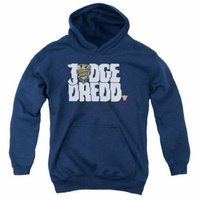 Trevco Judge Dredd-Logo Youth Pull-Over Hoodie, Navy - Large