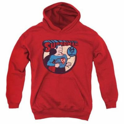 Trevco Dc-Superman 64 - Youth Pull-Over Hoodie - Red, Large