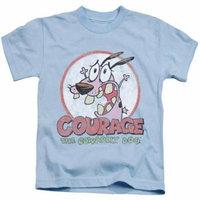 Trevco Courage The Cowardly Dog-Vintage Courage - Short Sleeve Juvenile 18-1 Tee - Light Blue, Medium 5-6