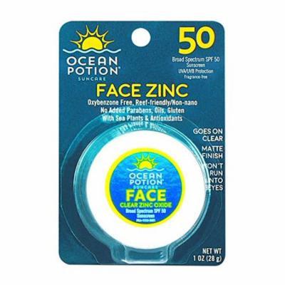 5 Pack Ocean Potion Face Clear Zinc Oxide, Sunscreen SPF 50, 1 Ounce each
