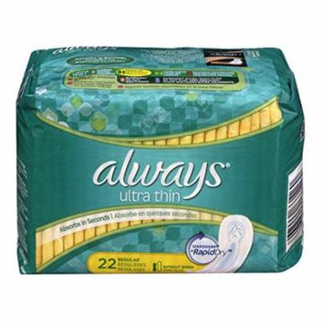 2 Pack - Always Ultra Thin Regular Pads without Wings, Unscented, 22 Each