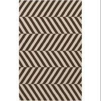 8' x 11' Aeonian Chevron Ribbons Mocha Brown and Cream Reversible Hand Woven Wool Area Throw Rug