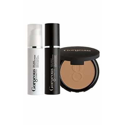 Gorgeous Cosmetics Complexion Perfection Foundation Makeup Kit, with Full Size Liquid Foundation, Powder Foundation and Makeup Primer, Shade - Skin Tone Deep