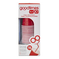 Goodtimes 15-Pack To-Go Cups, Lids & Straws