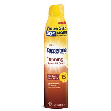 Coppertone Tanning Defend & Glow Sunscreen Spray SPF 15, 8.3 oz