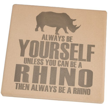 Animal World Always Be Yourself Rhino Set of 4 Square Sandstone Coasters